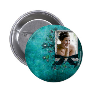 Teal blue with flowers photo template button