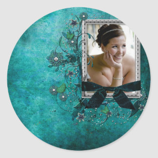 Teal blue with flowers photo template classic round sticker