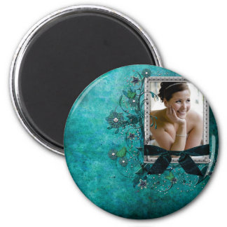 Teal blue with flowers photo template magnet