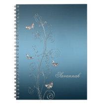 Teal Blue With Silver Floral Butterflies Notebooks