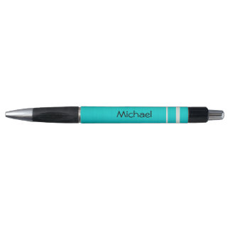 Teal Blue with Silver Stripes | Personalize Rubber Grip Pen