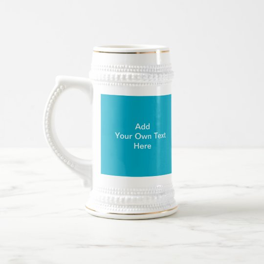 Teal Blue with White Custom Text. Beer Stein