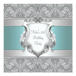 Teal Blue Womans 21st Birthday Party Card