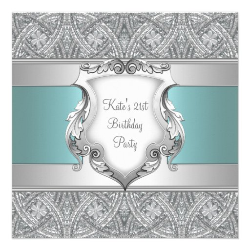 Teal Blue Womans 21st Birthday Party Personalized Invitations