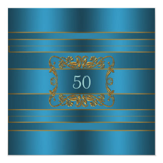 Teal Blue Womans 50th Birthday Party 5.25x5.25 Square Paper Invitation Card