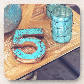 Teal Blue Wood Drink Coaster