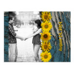 Teal Blue Wood Look Sunflower Photo Save the Date Postcard