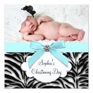 Teal Blue Zebra Baby Girl Photo Christening 5.25x5.25 Square Paper Invitation Card