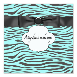 Teal Blue Zebra Baby Girl Shower 5.25x5.25 Square Paper Invitation Card