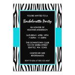 "Teal Blue Zebra Bachelorette Party Invitations 5"" X 7"" Invitation Card"