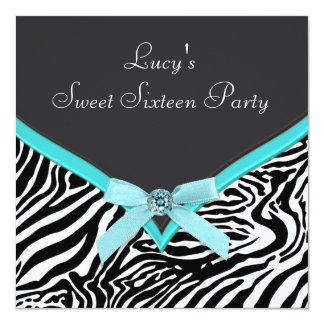 Teal Blue Zebra Birthday Party Card