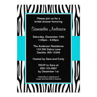 Teal Blue Zebra Bridal Shower Custom Invite