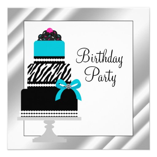 Teal Blue Zebra Cake Cupcake Birthday Party 5.25x5.25 Square Paper ...