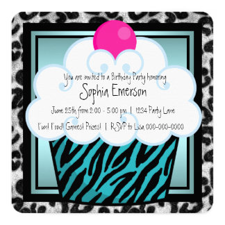 Teal Blue Zebra Cupcake Birthday Party Card