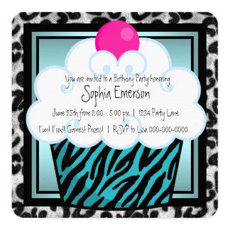 Teal Blue Zebra Cupcake Birthday Party Card