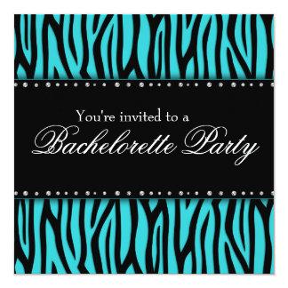 Teal Blue Zebra Diamonds Bachelorette Party Card