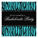Teal Blue Zebra Diamonds Bachelorette Party Invitation