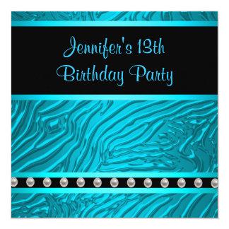 Teal Blue Zebra Girls 13th Birthday Party Card