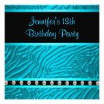 Teal Blue Zebra Girls 13th Birthday Party Custom Invitation