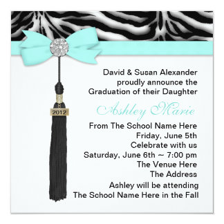Teal Blue Zebra Graduation Announcements