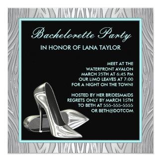 Teal Blue Zebra High Heels Bachelorette Party 5.25x5.25 Square Paper Invitation Card