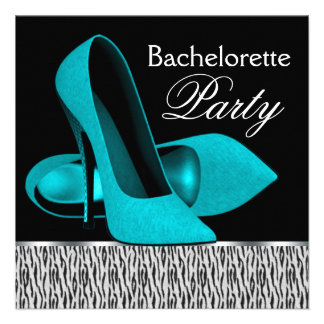 Teal Blue Zebra High Heels Bachelorette Party Personalized Announcement