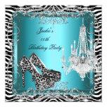 Teal Blue Zebra Leopard Print Party Shoes 5.25x5.25 Square Paper Invitation Card