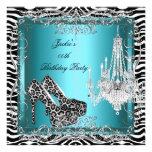 Teal Blue Zebra Leopard Print Party Shoes Invite