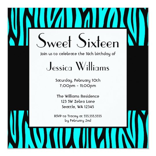Teal Blue Zebra Modern Sweet 16 Birthday Party Card