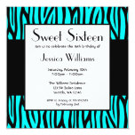 "Teal Blue Zebra Modern Sweet 16 Birthday Party 5.25"" Square Invitation Card"