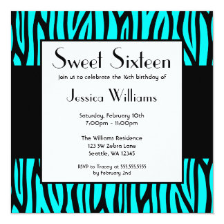 "Teal Blue Zebra Modern Sweet 16 Birthday Party 5.25"" Square Invitation Card"