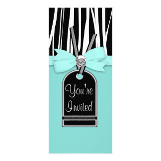 Teal Blue Zebra Party Invitation Template