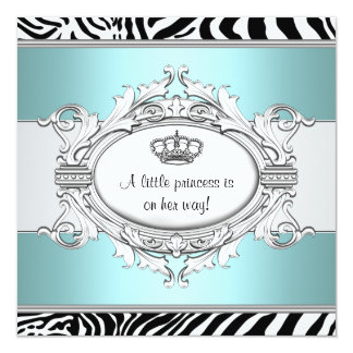 Teal Blue Zebra Princess Baby Girl Shower 5.25x5.25 Square Paper Invitation Card