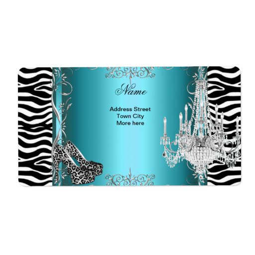 Teal Blue Zebra Print Party Shoes Chandelier Label | Zazzle