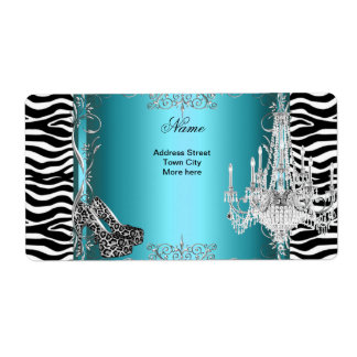 Teal Blue Zebra Print Party Shoes Chandelier Shipping Label