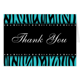 Teal Blue Zebra Printed Diamonds Thank You Stationery Note Card