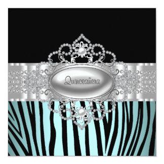 Teal Blue Zebra Quinceanera Invitations