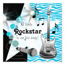 Teal Blue Zebra Rock Star Baby Boy Shower Invitation