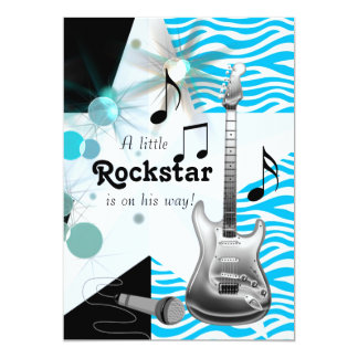 Teal Blue Zebra Rock Star Baby Boy Shower 5x7 Paper Invitation Card