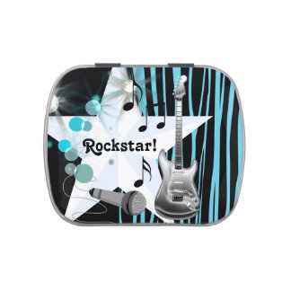 Teal Blue Zebra Rock Star Baby Shower Jelly Belly Candy Tins