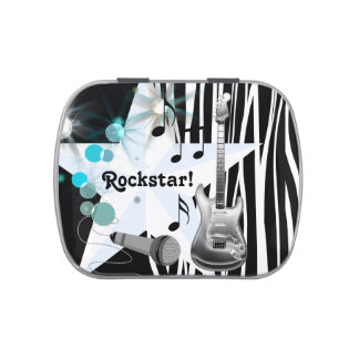 Teal Blue Zebra Rock Star Baby Shower Jelly Belly Candy Tin
