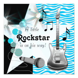 Teal Blue Zebra Rockstar Baby Boy Shower 5.25x5.25 Square Paper Invitation Card