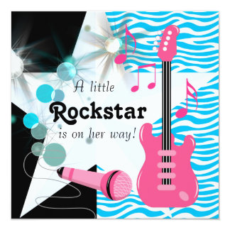 Teal Blue Zebra Rockstar Baby Girl Shower 5.25x5.25 Square Paper Invitation Card