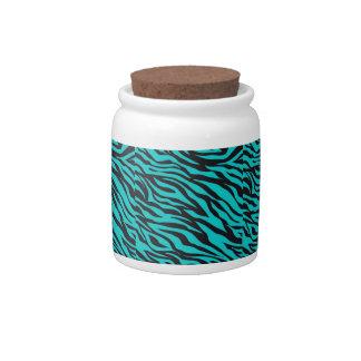 Teal Blue Zebra Stripes Wild Animal Prints Novelty Candy Jars