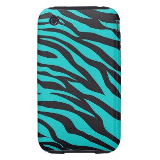 Teal Blue Zebra Stripes Wild Animal Prints Novelty Tough iPhone 3 Cases