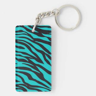 Teal Blue Zebra Stripes Wild Animal Prints Novelty Acrylic Keychains