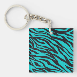 Teal Blue Zebra Stripes Wild Animal Prints Novelty Acrylic Key Chains