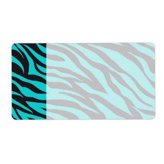 Teal Blue Zebra Stripes Wild Animal Prints Novelty Label