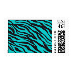 Teal Blue Zebra Stripes Wild Animal Prints Novelty Postage Stamp