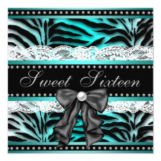 Teal Blue Zebra Sweet 16 Birthday Party Card